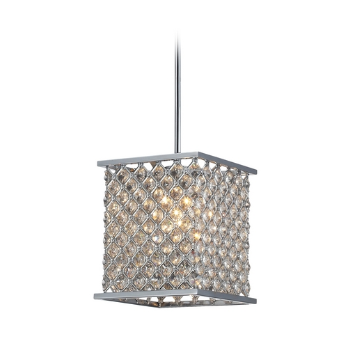 Elk Lighting Modern Mini-Pendant Light with Crystal in Polished Chrome Finish 31103/1
