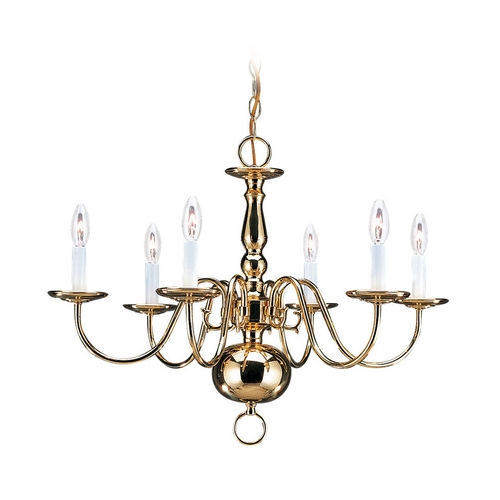 Sea Gull Lighting Sea Gull Lighting 6-Light Chandelier in Polished Brass 3411-02