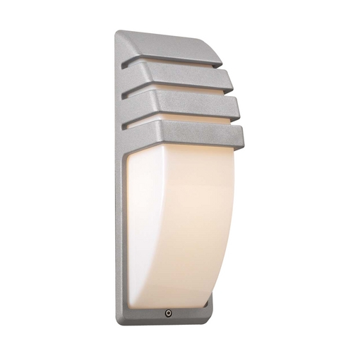 PLC Lighting Modern Outdoor Wall Light with White Glass in Silver Finish 1832 SL