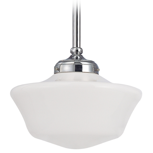 Design Classics Lighting 12-Inch Chrome Schoolhouse Pendant Light FA4-26 / GA12