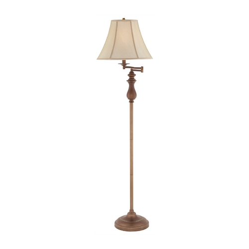 Quoizel Lighting Swing Arm Lamp with White Shade in Palladian Bronze Finish Q1056FPN