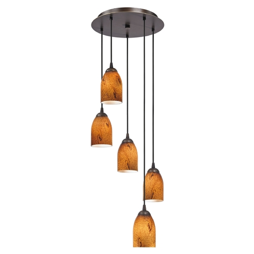 Design Classics Lighting Modern Multi-Light Mini-Pendant Light with Dome Art Glass 580-220 GL1001D