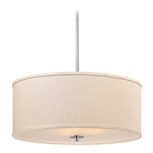 Design Classics Lighting Large Modern Drum Pendant Light in Polished Chrome Finish DCL 6528-26 SH7518