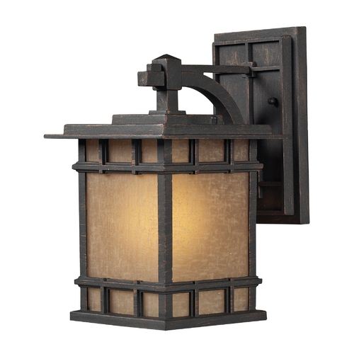 Elk Lighting Outdoor Wall Light with Brown Glass in Weathered Charcoal Finish 45010/1