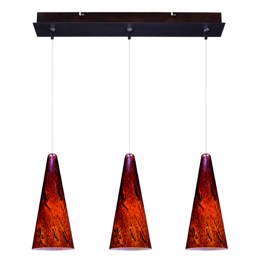 ET2 Lighting Minx Bronze Multi-Light Pendant with Conical Shade E94829-102BZ