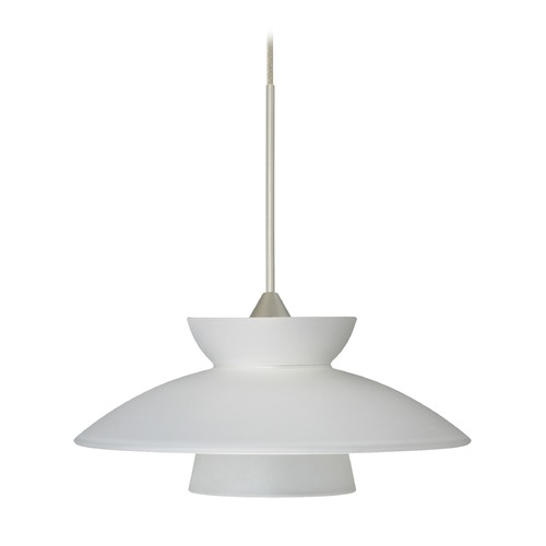 Besa Lighting Besa Lighting Trilo Satin Nickel LED Mini-Pendant Light with Urn Shade 1XT-271825-LED-SN