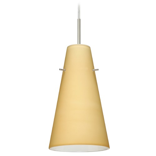Besa Lighting Besa Lighting Cierro Satin Nickel LED Mini-Pendant Light with Conical Shade 1JT-4124VM-LED-SN