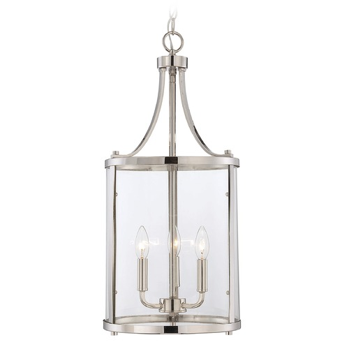 Savoy House Savoy House Polished Nickel Pendant Light with Cylindrical Shade 7-1040-3-109