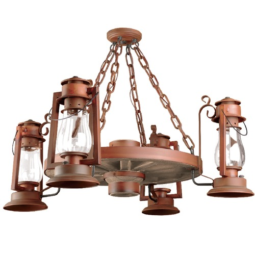 Sutters Mill Lantern Co 4-Light Wagon Wheel Chandelier - Natural Rust Finish 772-S-54-NR-CL