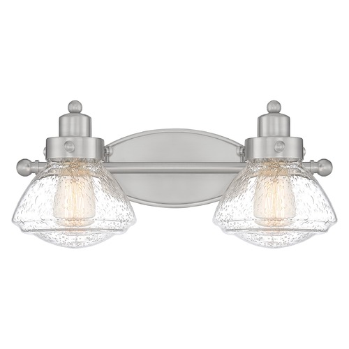 Quoizel Lighting Quoizel Lighting Scholar Brushed Nickel 2-Light Bathroom Light with Clear Glass SCH8602BN