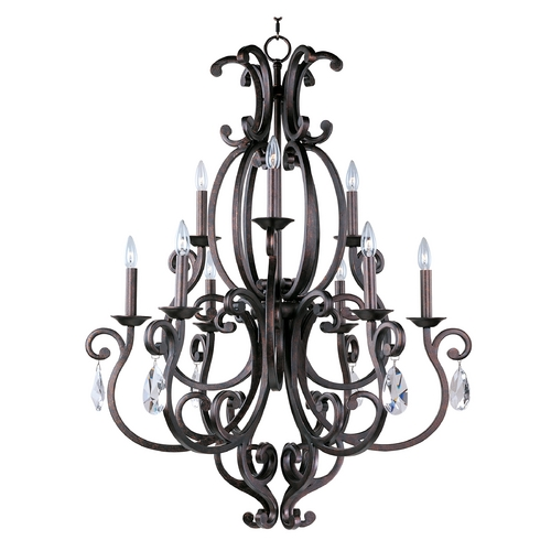 Maxim Lighting Chandelier with Beige / Cream Shades in Colonial Umber Finish 31006CU/CRY083