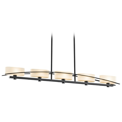 Kichler Lighting Kichler Modern Island Light with White Glass in Black Finish 42018BK