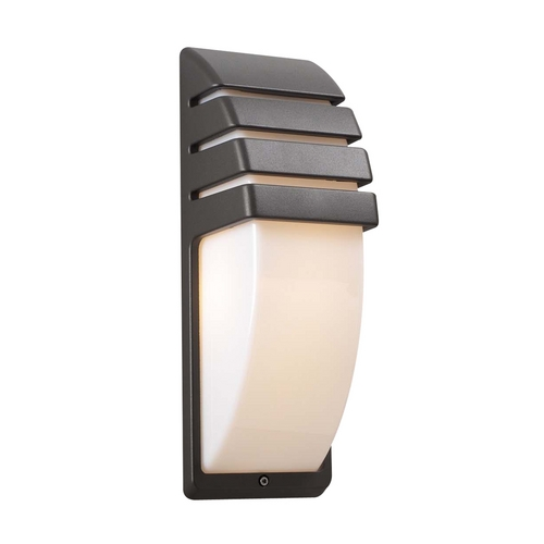 PLC Lighting Modern Outdoor Wall Light with White Glass in Bronze Finish 1832 BZ