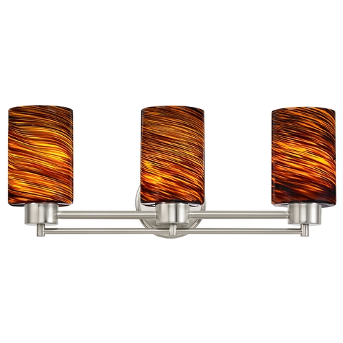 Design Classics Lighting Modern Bathroom Light with Brown Art Glass in Satin Nickel Finish 703-09 GL1023C