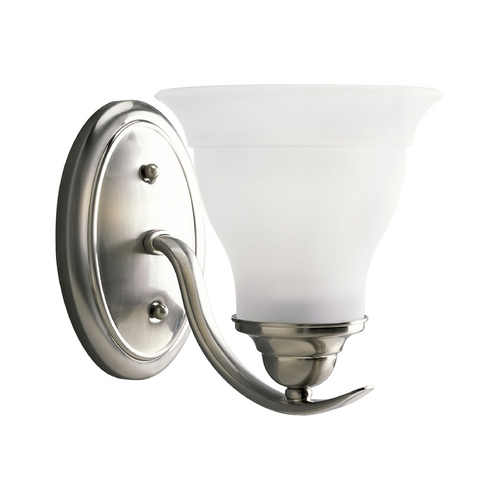 Progress Lighting Progress Sconce Wall Light with White Glass in Brushed Nickel Finish P3190-09EBWB