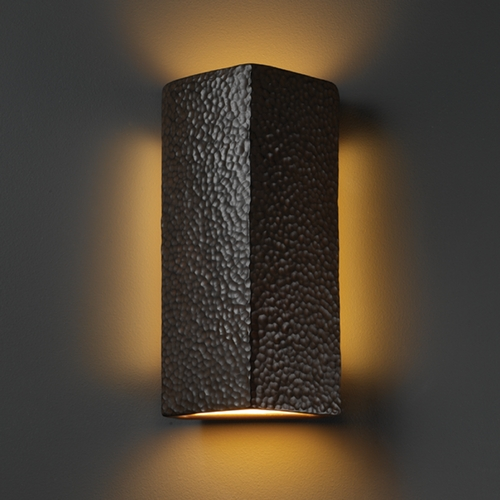 Justice Design Group Sconce Wall Light in Hammered Iron Finish CER-5145-HMIR