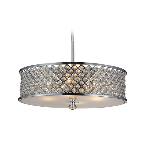 Elk Lighting Modern Pendant Light with Crystal in Polished Chrome Finish 31105/4