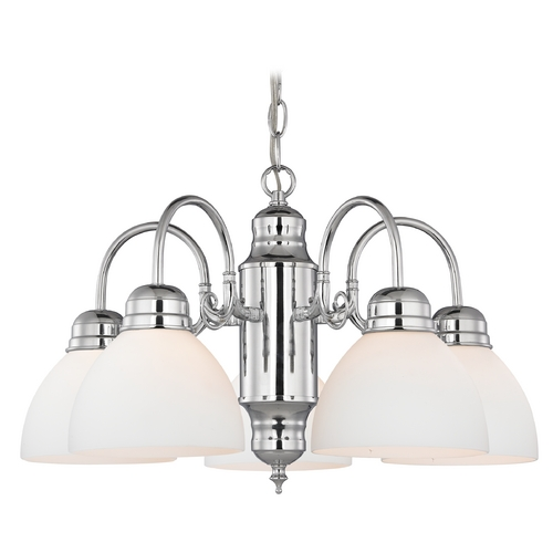 Design Classics Lighting Mini-Chandelier with White Glass in Chrome Finish 709-26 GL1033-WH