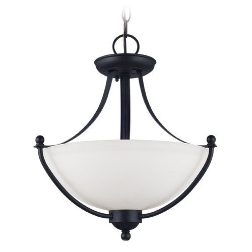 Sea Gull Lighting Pendant Light with White Glass in Blacksmith Finish 77270-839