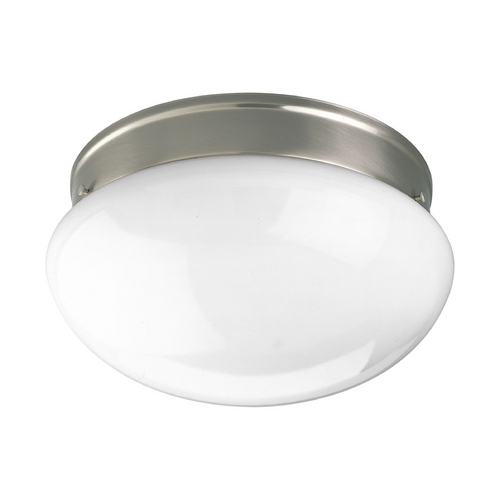 Progress Lighting Progress Flushmount Light with White Glass in Brushed Nickel Finish P3412-09