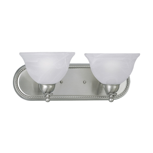 Progress Lighting Progress Bathroom Light with Alabaster Glass in Brushed Nickel Finish P3267-09