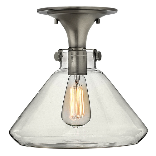 Hinkley Lighting Semi-Flushmount Light with Clear Glass in Antique Nickel Finish 3147AN