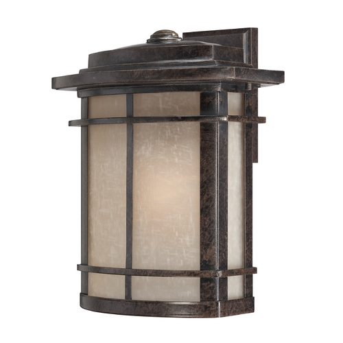 Quoizel Lighting Outdoor Wall Light with Beige / Cream Glass in Imperial Bronze Finish GLN8412IB