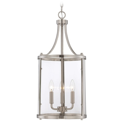 Savoy House Savoy House Satin Nickel Pendant Light with Cylindrical Shade 7-1040-3-SN