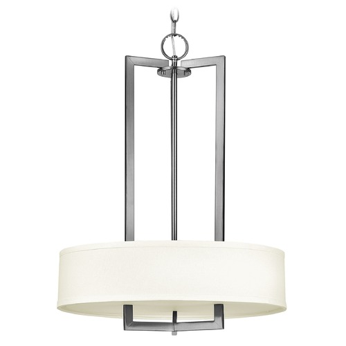 Hinkley Lighting Hinkley Lighting Hampton Antique Nickel Pendant Light with Drum Shade 3203AN-GU24