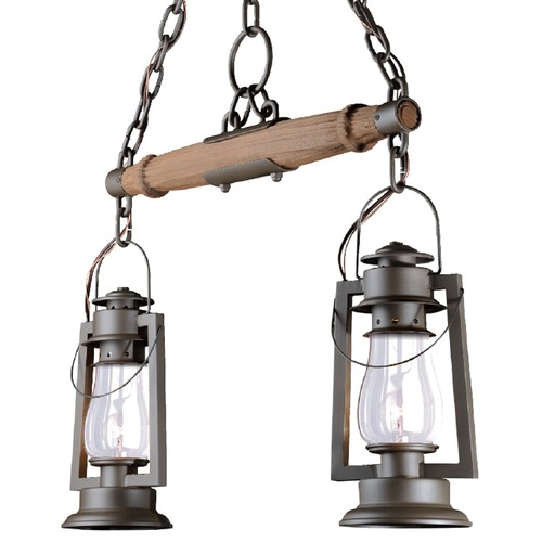 Sutters Mill Lantern Co 2 Rustic Yoke Mount Chandelier - Bronze Finish 772-S-92-BZ-CL