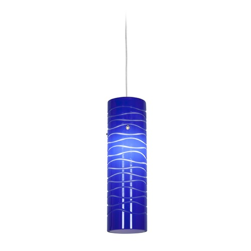 Access Lighting Access Lighting Zeta Brushed Steel Mini-Pendant Light with Cylindrical Shade 94932-BS/BLULN