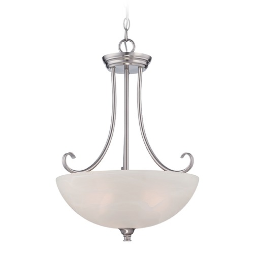 Designers Fountain Lighting Designers Fountain Kendall Satin Platinum Pendant Light with Bowl / Dome Shade 85131-SP