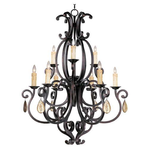 Maxim Lighting Chandelier with Beige / Cream Shades in Colonial Umber Finish 31006CU/CRY094