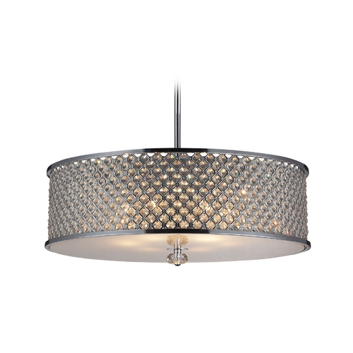 Elk Lighting Modern Pendant Light with Crystal in Polished Chrome Finish 31106/6