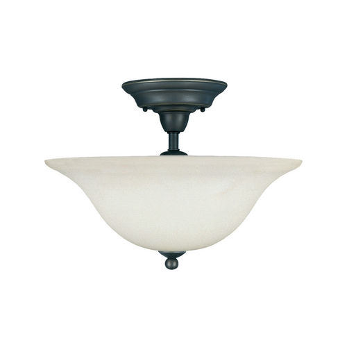 Sea Gull Lighting Semi-Flushmount Light with White Glass in Heirloom Bronze Finish 75061-782