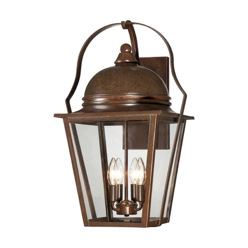 Minka Lavery Outdoor Wall Light with Clear Glass in Arcitectural Bronze W/copper Highlights Finish 72303-291