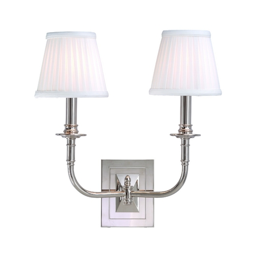 Hudson Valley Lighting Sconce Wall Light with White Shades in Polished Nickel Finish 2702-PN