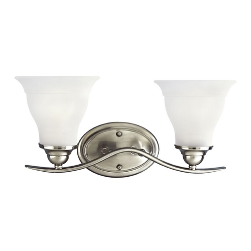 Progress Lighting Progress Bathroom Light with White Glass in Brushed Nickel Finish P3191-09EBWB
