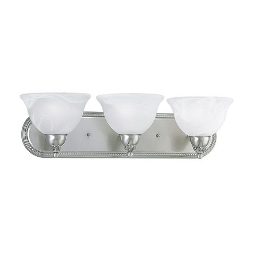 Progress Lighting Progress Bathroom Light with Alabaster Glass in Brushed Nickel Finish P3268-09