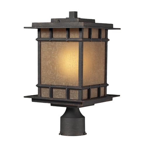 Elk Lighting Post Light with Brown Glass in Weathered Charcoal Finish 45014/1