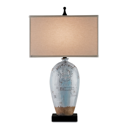 Currey and Company Lighting Currey and Company Lighting Distress Light Blue Crackle with Brown / London Black Table Lamp with Re 6038