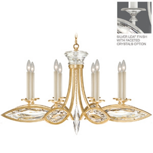 Fine Art Lamps Fine Art Lamps Marquise Platinized Silver Leaf Crystal Chandelier 843940-12ST
