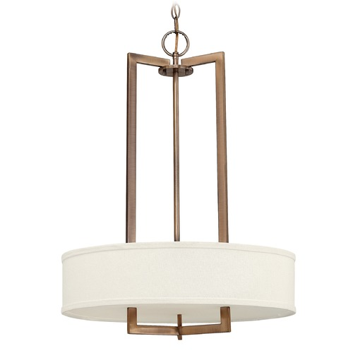 Hinkley Lighting Hinkley Lighting Hampton Brushed Bronze Pendant Light with Drum Shade 3203BR-GU24