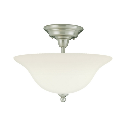 Sea Gull Lighting Semi-Flushmount Light with White Glass in Brushed Nickel Finish 75061-962