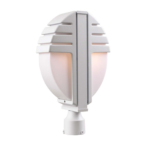 PLC Lighting Modern Post Light with White Glass in Bronze Finish 1831 BZ