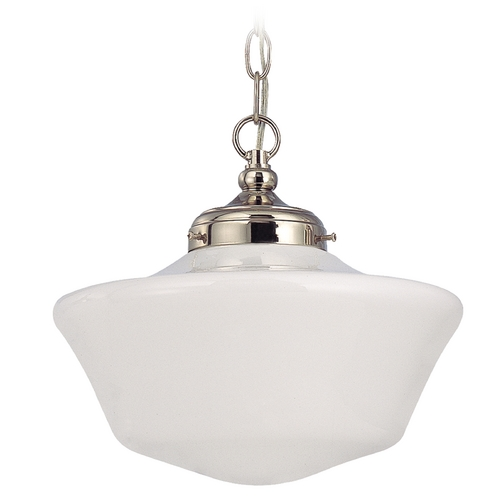 Design Classics Lighting 12-Inch Schoolhouse Pendant Light in Polished Nickel with Chain FA4-15 / GA12 / A-15