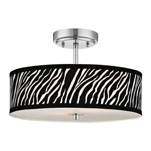 Design Classics Lighting Chrome Ceiling Light with Zebra Print Drum Shade - 16-Inches Wide DCL 6543-26 SH9470