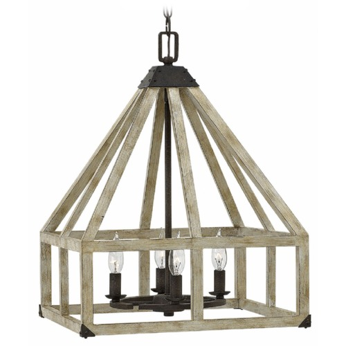 Hinkley Lighting Wood Caged Four Light Chandelier FR41204IRR