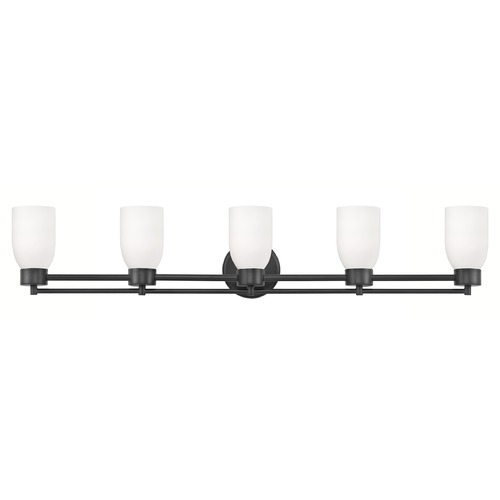 Design Classics Lighting Modern Bathroom Light White Glass Black 5 Lt 706-07 GL1028D