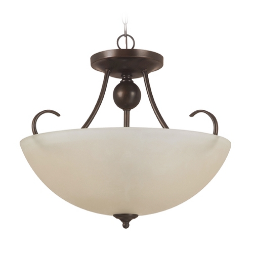 Sea Gull Lighting Pendant Light with Beige / Cream Glass in Burnt Sienna Finish 77316-710